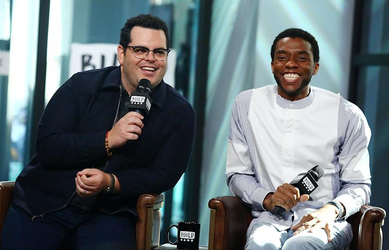 """NEW YORK, NY - SEPTEMBER 25: (L-R) Actors Josh Gad and Chadwick Boseman discuss their new movie """"Marshall"""" at Build Studio on September 25, 2017 in New York City. (Photo by Astrid Stawiarz/Getty Images)"""
