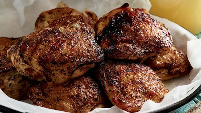 """Here's a fantastic way to jazz up grilled (or grill-panned) chicken, and it only requires four simple ingredients: olive oil, garlic, cumin and lime juice. The vibrant flavors give the dish a subtle Latin taste -- so cue up the black beans and rice, or the warmed tortillas (Coronas optional). <br><br> <strong>Get the recipe: <a href=""""http://www.oprah.com/food/Lime-Grilled-Chicken-Recipe"""" rel=""""nofollow noopener"""" target=""""_blank"""" data-ylk=""""slk:Lime Grilled Chicken"""" class=""""link rapid-noclick-resp"""">Lime Grilled Chicken</a></strong>"""