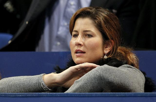 The wife of Swiss Roger Federer, Mirka, watches her husband play against Argentinian Juan Martin Del Potro on October 28, 2012 during the final match of the Swiss Indoors ATP tennis tournament in Basel. AFP PHOTO / FABRICE COFFRINFABRICE COFFRINI/AFP/Getty Images