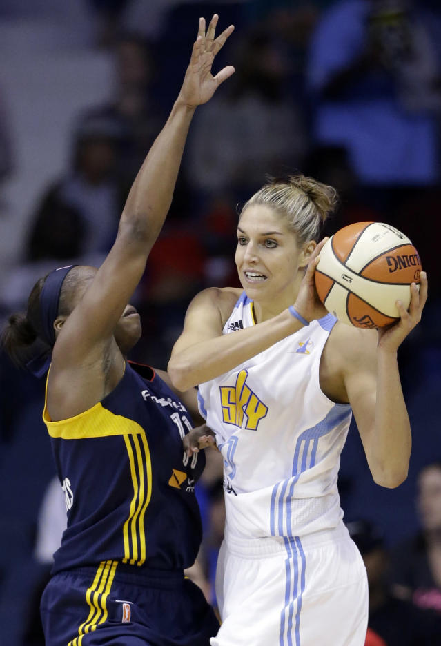 Chicago Sky forward Elena Delle Donne, right, looks to pass as Indiana Fever forward Karima Christmas guards during the first half in Game 1 of the WNBA basketball Eastern Conference semifinal series on Friday, Sept. 20, 2013, in Rosemont, Ill. (AP Photo/Nam Y. Huh)