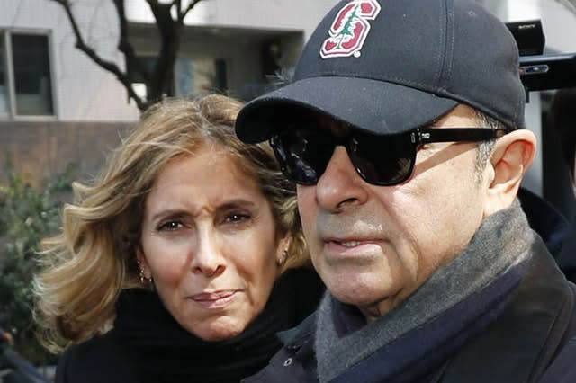 Carlos Ghosn, right, and his wife Carole
