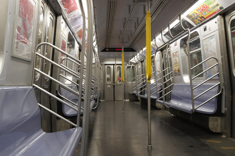 An empty subway car is seen during the morning rush, following the outbreak of Coronavirus disease (COVID-19), in New York City on March 19, 2020. (Lucas Jackson/Reuters)