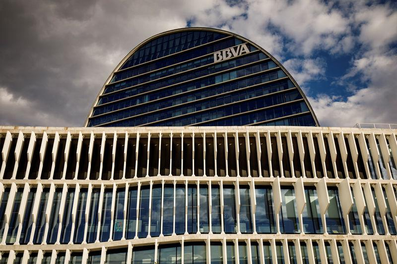 FILE PHOTO: The headquarters of the Spanish bank BBVA are seen in Madrid
