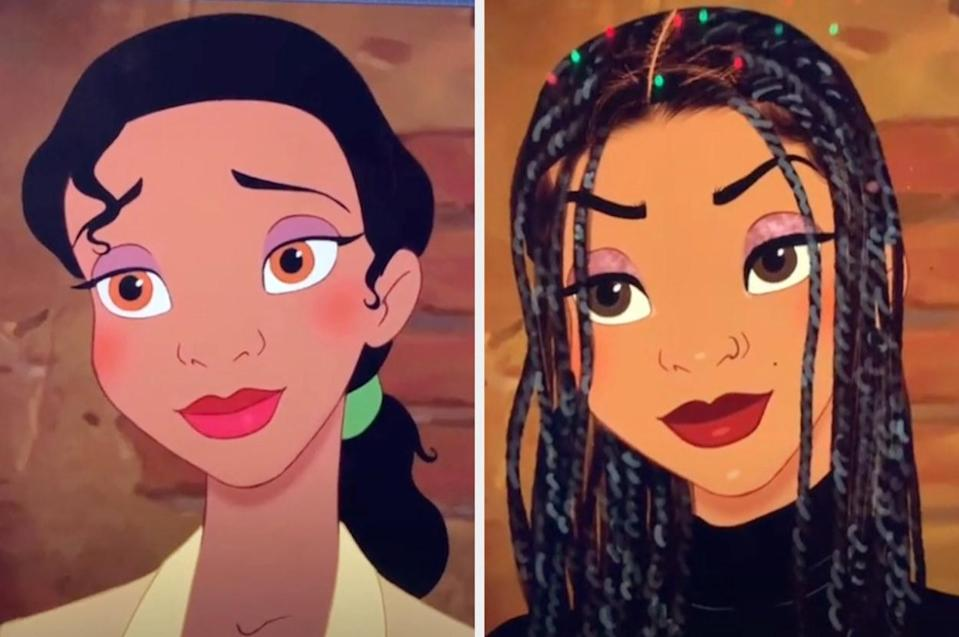 The classic Tiana side by side with Lexis' Tiana, who has modern makeup, braids, and is wearing a turtleneck