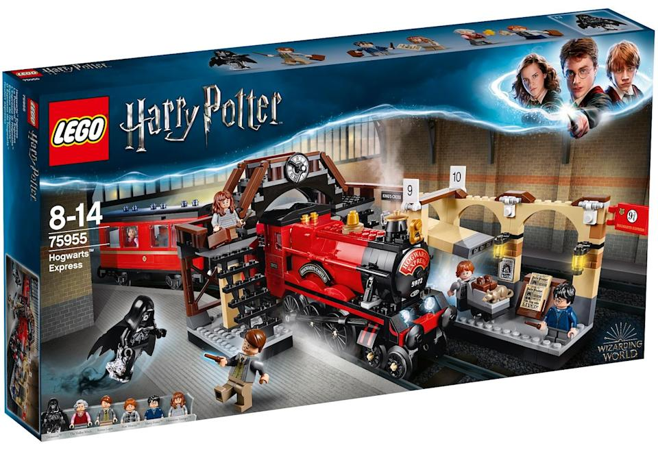 """Get your kids (but also secretly you) to build and step aboard the LEGO Harry Potter Hogwarts Express from King's Cross. The set comes with mini figures of Harry, Hermione and Ron - it's basically every wizard fan's dream.<br />Price: £75<br />Ages: 8+<br /><a href=""""http://hamleys.com/ProductListings.irs?tag=LEGOHarryPotter http://www.hamleys.com/lego-harry-potter-hogwarts-express-75955.ir"""" target=""""_blank"""" rel=""""noopener noreferrer"""">Click here to buy.</a>"""