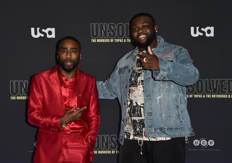"Actors Marcc Rose (L) and Wavyy Jonez attend the premiere of ""Unsolved: The Murders of Tupac and The Notorious B.I.G."" on February 22, 2018 in Hollywood, California"