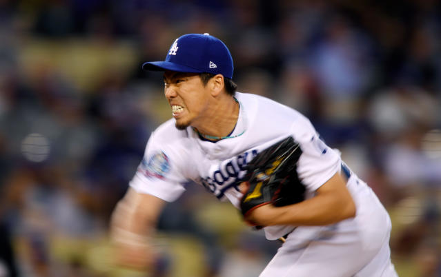 Los Angeles Dodgers starting pitcher Kenta Maeda, of Japan, throws during the second inning of a baseball game against the Miami Marlins Tuesday, April 24, 2018, in Los Angeles. (AP Photo/Mark J. Terrill)