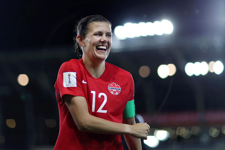 GRENOBLE, FRANCE - JUNE 15:    Christine Sinclair of Canada celebrates following her sides victory in the 2019 FIFA Women's World Cup France group E match between Canada and New Zealand at Stade des Alpes on June 15, 2019 in Grenoble, France. (Photo by Naomi Baker - FIFA/FIFA via Getty Images)