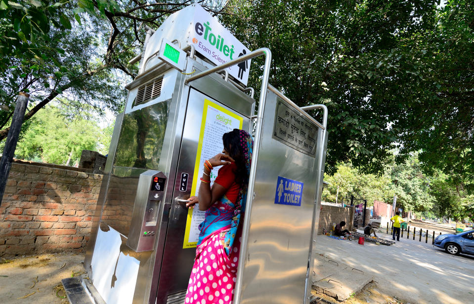 Smart public toilets available for public in Delhi Cant. area on October 9, 2014 in New Delhi, India. (Photo by Priyanka Parashar/Mint via Getty Images)