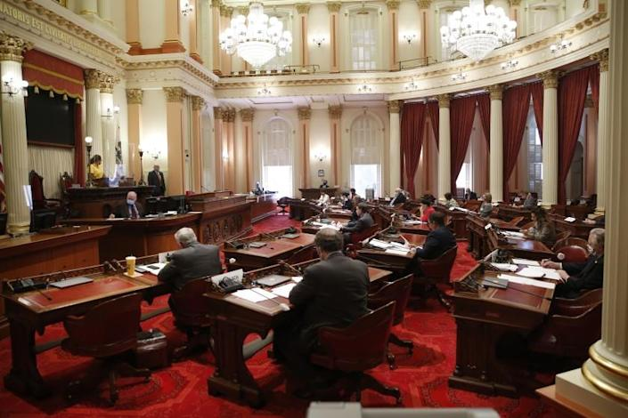 """California's state Senate, seen in May, will consider a proposal to impose new taxes on California millionaires. <span class=""""copyright"""">(Rich Pedroncelli / Associated Press)</span>"""