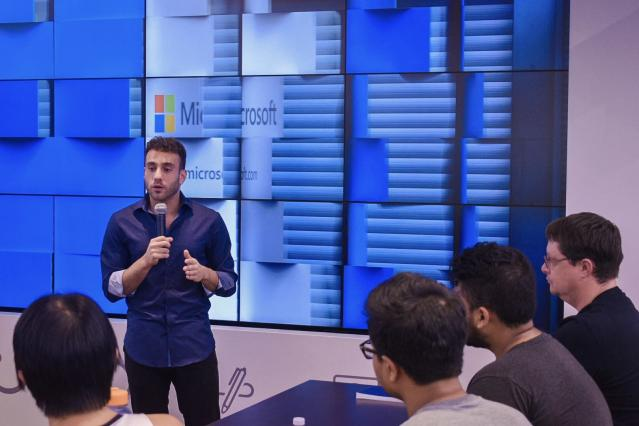 Michael Peres speaking at the Microsoft Store University Village