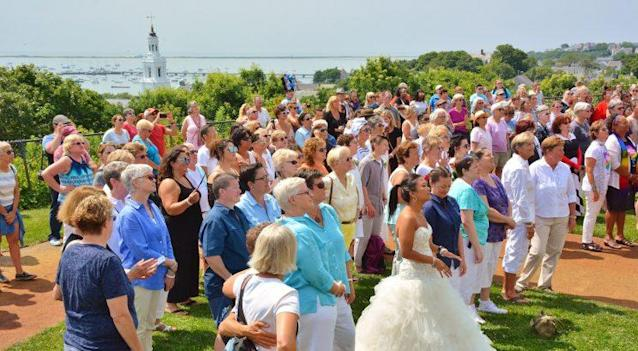 The second annual Bride Pride, in Provincetown, Mass., was a mass wedding and renewal ceremony for 84 brides. (Photo: Dan McKeon)