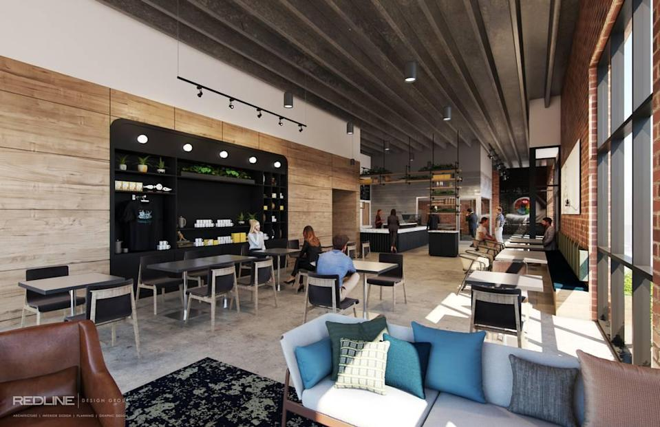 Backdrop Coffee will have a merchandise area and a glass-enclosed coffee lab where guests can peek into HAERFEST COFFEE Roasting Co.'s roasting space.
