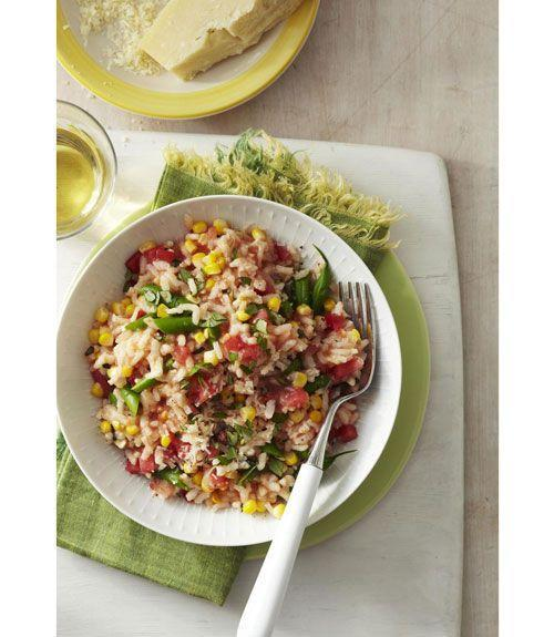 """<p>This tomato risotto recipe can be cooked in about half an hour — making it a perfect dish if you're in a rush but still wanting to whip up a healthy meal. The best part about this recipe? No stove required!</p><p><a href=""""https://www.goodhousekeeping.com/food-recipes/a11159/easy-tomato-risotto-recipe-ghk0811/"""" rel=""""nofollow noopener"""" target=""""_blank"""" data-ylk=""""slk:Get the recipe for Easy Tomato Risotto »"""" class=""""link rapid-noclick-resp""""><em>Get the recipe for Easy Tomato Risotto »</em></a></p>"""