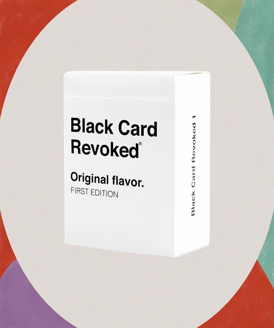 """Take the tedium out of an otherwise uneventful Friday night with this card game full of Black nostalgia.<br><br><strong>Cards For All People</strong> Black Card Revoked Game, $, available at <a href=""""https://go.skimresources.com/?id=30283X879131&url=https%3A%2F%2Fwww.target.com%2Fp%2Fblack-card-revoked-game%2F-%2FA-53608086"""" rel=""""nofollow noopener"""" target=""""_blank"""" data-ylk=""""slk:Target"""" class=""""link rapid-noclick-resp"""">Target</a>"""