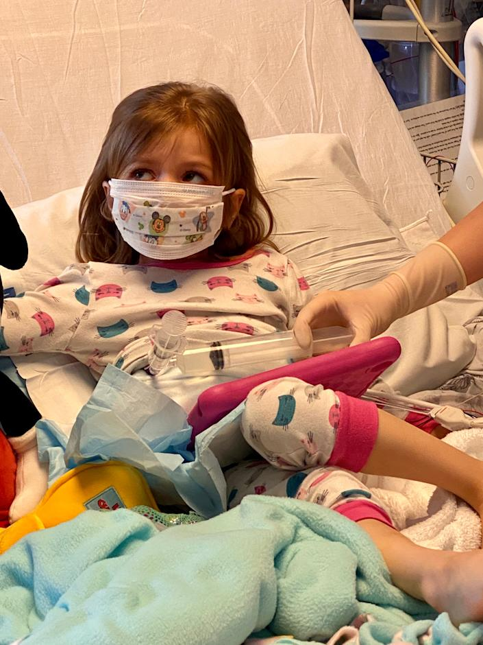 Ava Langenhop receives a stem cell treatment for an extremely rare, inherited disorder of the white blood cells, called leukocyte adhesion deficiency-1.
