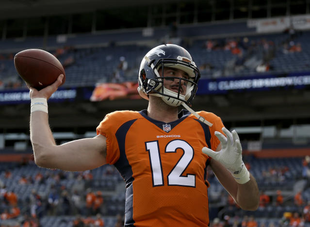 Your turn, kid: the Denver Broncos have reportedly informed second-year quarterback Paxton Lynch he'll start this week. (AP)