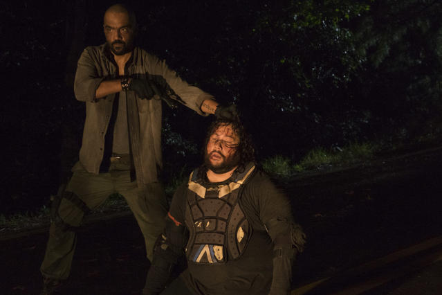<p>Cooper Andrews as Jerry, Mike Seal as Gary in AMC's <i>The Walking Dead</i>.<br>(Photo: Gene Page/AMC) </p>