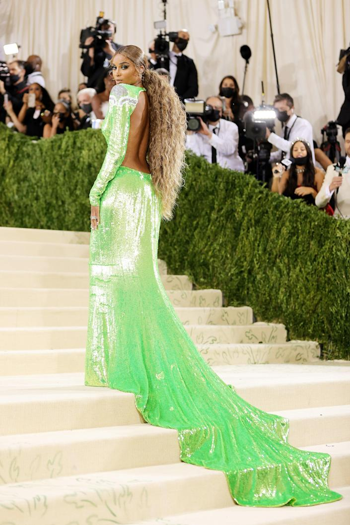 """<h2>Ciara wearing Dundas</h2><br>It's the Superbowl ring that really says, """"America,"""" in Ciara's Met Gala look.<span class=""""copyright"""">Photo by Mike Coppola/Getty Images</span>"""