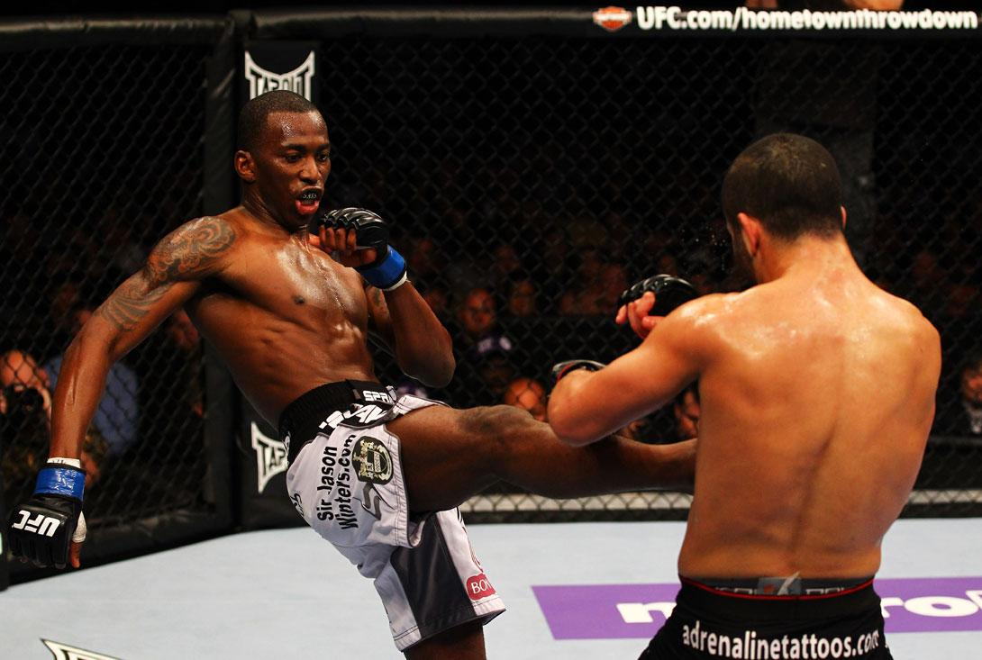 ATLANTA, GA - APRIL 21:  Anthony Njokuani (L) kicks John Makdessi during their lightweight bout for UFC 145 at Philips Arena on April 21, 2012 in Atlanta, Georgia.