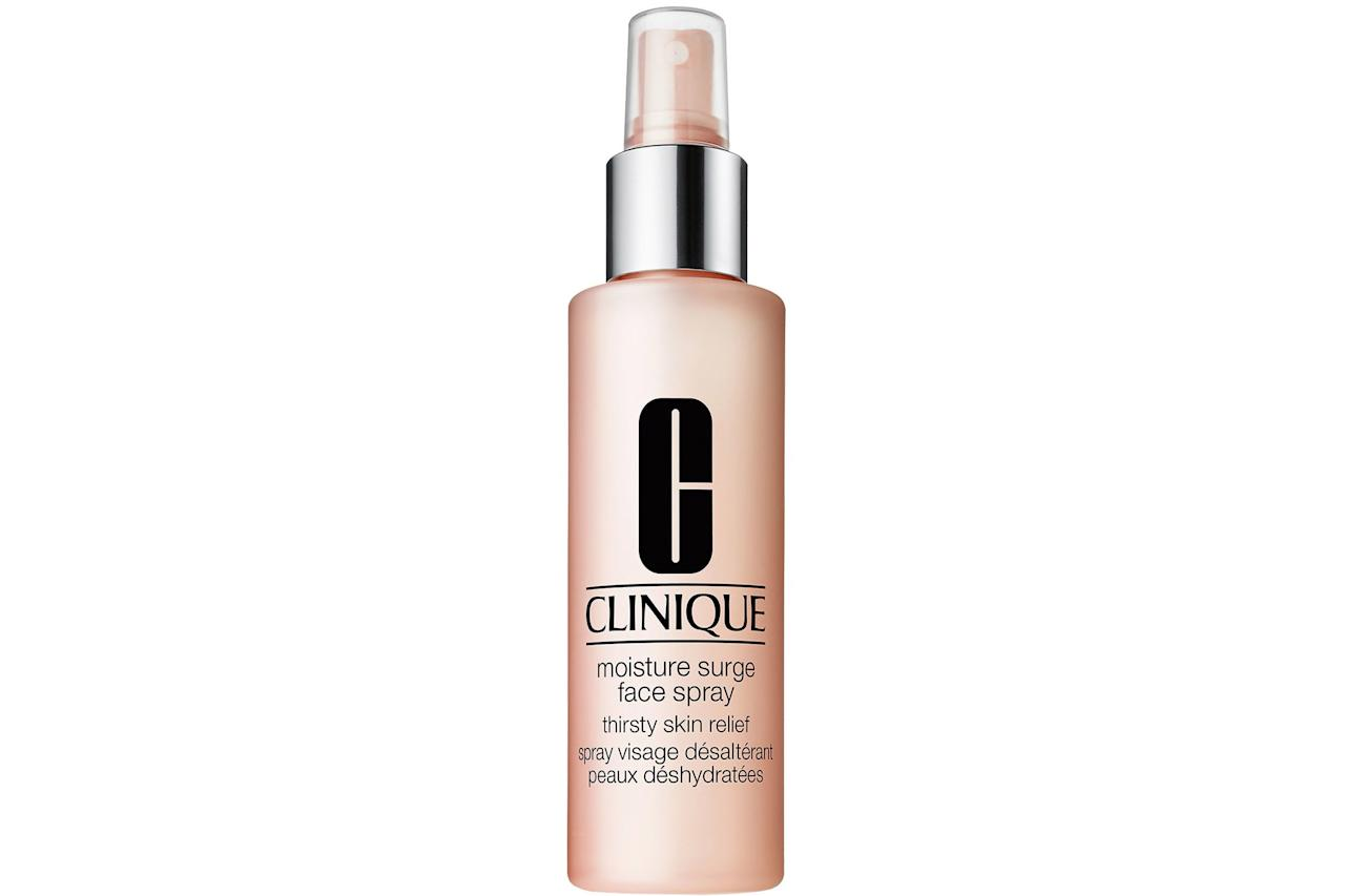 """<p><strong>BUY IT: $26; <em><a href=""""https://click.linksynergy.com/deeplink?id=93xLBvPhAeE&mid=2417&murl=https%3A%2F%2Fwww.sephora.com%2Fproduct%2Fmoisture-surge-face-spray-P378866&u1=SL%2CRX_1907SkincareMists_CliniqueMoistureSurgeSpray%2Csimsj%2C%2CIMA%2C626396%2C201908%2CI"""" target=""""_blank"""">sephora.com</a></em></strong></p> <p> Use before makeup, as a setting spray, and throughout the day to keep skin glowing and hydrated. </p>"""