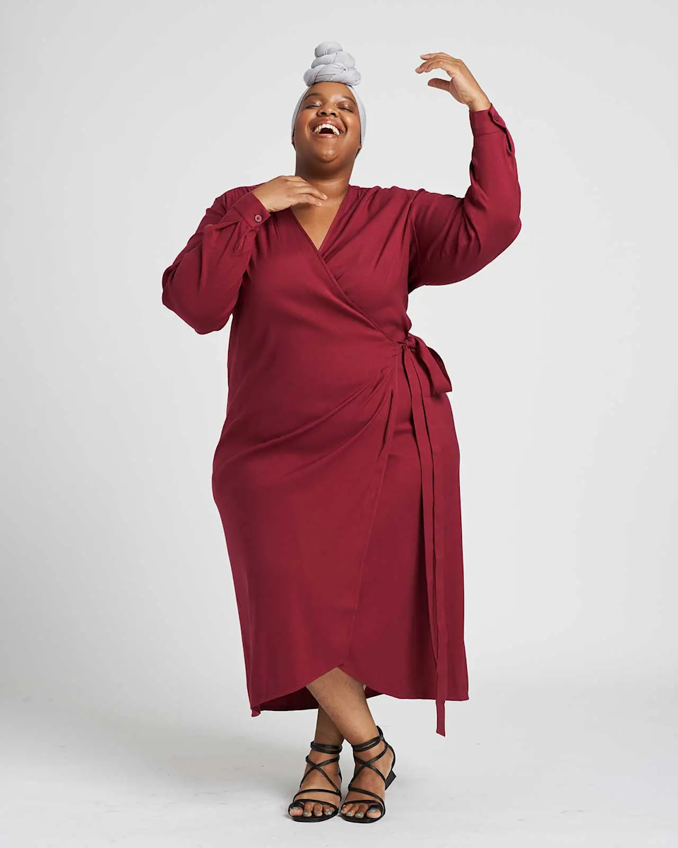 """<h2>Universal Standard Rivers Wrap Dress</h2><br>If you're on the hunt for a plus-size-friendly go-to for high-quality wardrobe staples, meet Univeral Standard. The inclusively sized brand offers tons of business casual pieces like this wrap dress that will work for every season.<br><br><em>Shop <strong><a href=""""https://www.universalstandard.com/products/rivers-wrap-dress-currant"""" rel=""""nofollow noopener"""" target=""""_blank"""" data-ylk=""""slk:Universal Standard"""" class=""""link rapid-noclick-resp"""">Universal Standard </a></strong></em><br><br><strong>Universal Standard</strong> Rivers Wrap Dress, $, available at <a href=""""https://go.skimresources.com/?id=30283X879131&url=https%3A%2F%2Fwww.universalstandard.com%2Fproducts%2Frivers-wrap-dress-currant"""" rel=""""nofollow noopener"""" target=""""_blank"""" data-ylk=""""slk:Universal Standard"""" class=""""link rapid-noclick-resp"""">Universal Standard</a>"""