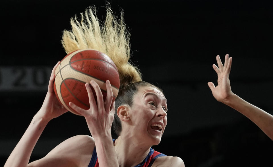 United States' Breanna Stewart (10) drives to the basket during women's basketball preliminary round game against France at the 2020 Summer Olympics, Monday, Aug. 2, 2021, in Saitama, Japan. (AP Photo/Eric Gay)