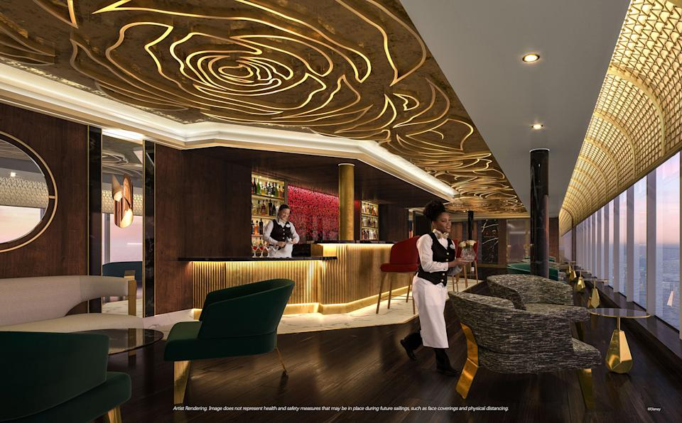 <p>The Rose is a chic lounge at the entrance of Palo Steakhouse and Enchanté. Inspired by the fateful flower at the heart of the story, The Rose will be an idyllic setting for a pre-dinner aperitif or after-dinner cocktail. (Disney)</p>