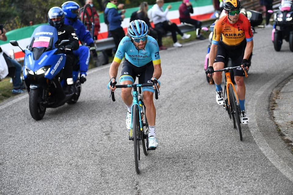 SAN DANIELE DEL FRIULI ITALY  OCTOBER 20 Manuele Boaro of Italy and Astana Pro Team  Jan Tratnik of Slovenia and Team Bahrain  Mclaren  Breakaway  during the 103rd Giro dItalia 2020 Stage 16 a 229km stage from Udine to San Daniele Del Friuli 249m girodiitalia  Giro  on October 20 2020 in San Daniele Del Friuli Italy Photo by Tim de WaeleGetty Images