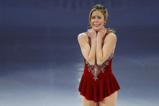 Ashley Wagner reacts after skating during an exhibition event at the conclusion of the U.S. Figure Skating Championships in Boston