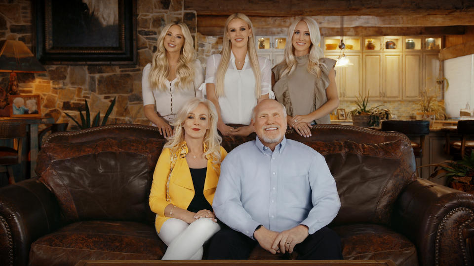 """Meet the stars of """"The Bradshaw Bunch"""" reality show. From left, back row: Rachel Bradshaw, Lacey Hester, Erin Bradshaw. From left, front row: Tammy Bradshaw, Terry Bradshaw. (Photo Courtesy E! Entertainment)"""