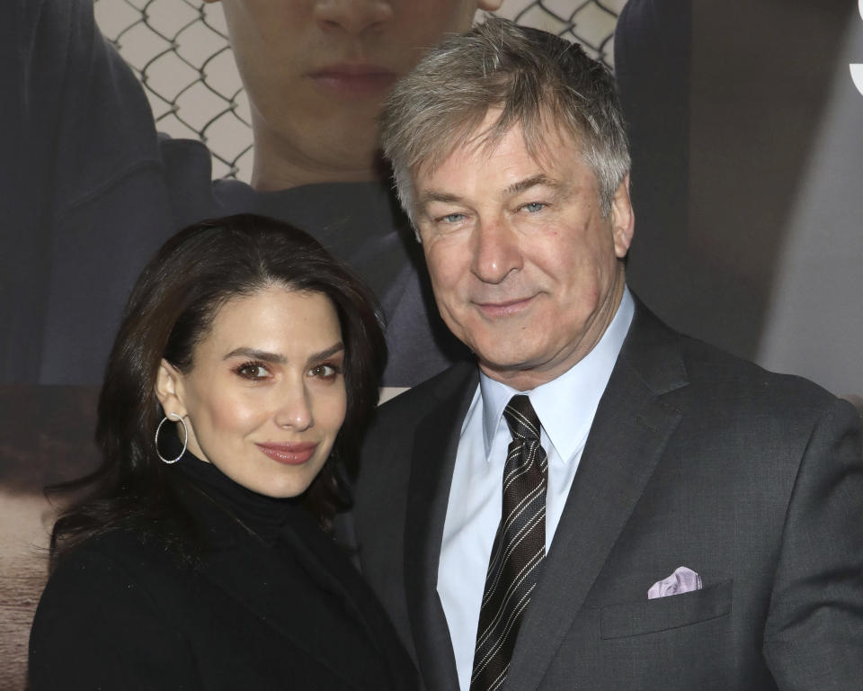 "Hilaria Baldwin, left, and Alec Baldwin attend the Broadway opening night of ""West Side Story"" at The Broadway Theatre on Thursday, Feb. 20, 2020, in New York. (Photo by Greg Allen/Invision/AP)"
