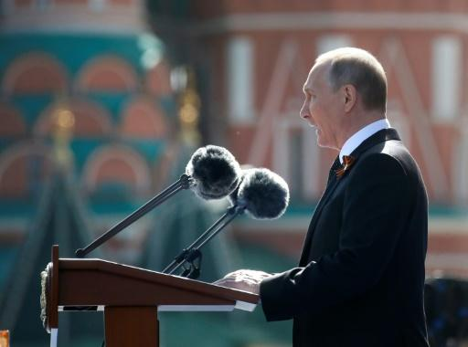 Russian President Vladimir Putin addresses the Victory Day military parade in Moscow's Red Square on the anniversary of the defeat of Nazi Germany in 1945