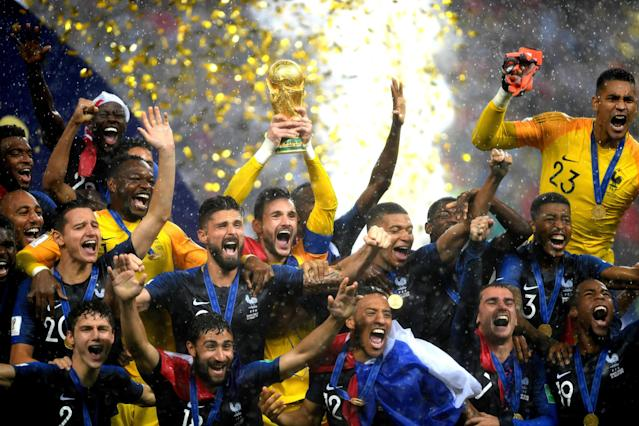 Not dropping this one: Hugo Lloris lifts the World Cup trophy after France beat Croatia 4-2. (Photo by Shaun Botterill/Getty Images)