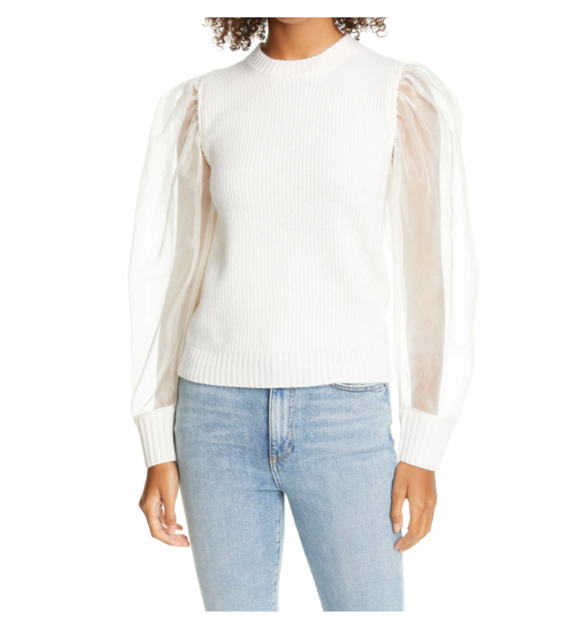 Sea New York James Organza Puff Sleeve Wool Sweater. Image via Nordstrom.