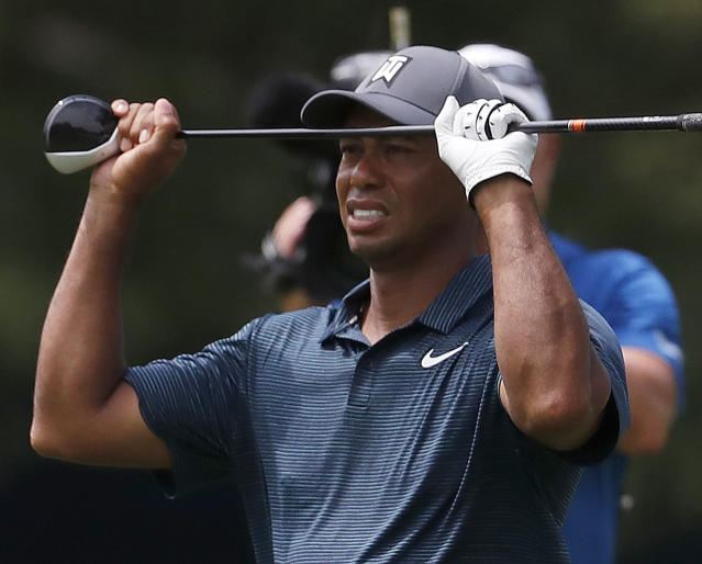 "<a class=""link rapid-noclick-resp"" href=""/pga/players/147/"" data-ylk=""slk:Tiger Woods"">Tiger Woods</a> starts Round 2 of the PGA Championship trailing by 10 strokes. (AP)"