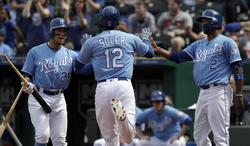 "<a class=""link rapid-noclick-resp"" href=""/mlb/players/9228/"" data-ylk=""slk:Jorge Soler"">Jorge Soler</a> is finding his game in Kansas City (AP Photo/Orlin Wagner)"