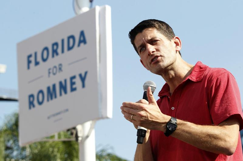 Republican vice presidential candidate, Rep. Paul Ryan, R-Wis., speaks at Jacksonville International Airport, Saturday, Sept. 1, 2012, in Jacksonville, Fla. (AP Photo/Mary Altaffer)