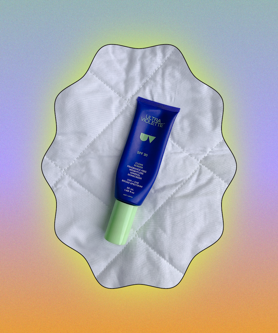"""I'm obsessed with this slightly tinted sunscreen and as you can see, I've used it right down to the last drop. It absorbs quickly and doesn't make skin feel chalky or cause breakouts. It's more or less like a lightweight moisturiser with boosted protection against the sun. <br><br><strong>Ultra Violette</strong> Clean Screen Sensitive Skinscreen SPF 30, $, available at <a href=""""https://www.spacenk.com/uk/sun-tan/suncare/face-suncream/clean-screen-sensitive-skinscreen-spf-30-MUK200029609.html?dwvar_MUK200029609_size=UK200029609"""" rel=""""nofollow noopener"""" target=""""_blank"""" data-ylk=""""slk:Space NK"""" class=""""link rapid-noclick-resp"""">Space NK</a>"""