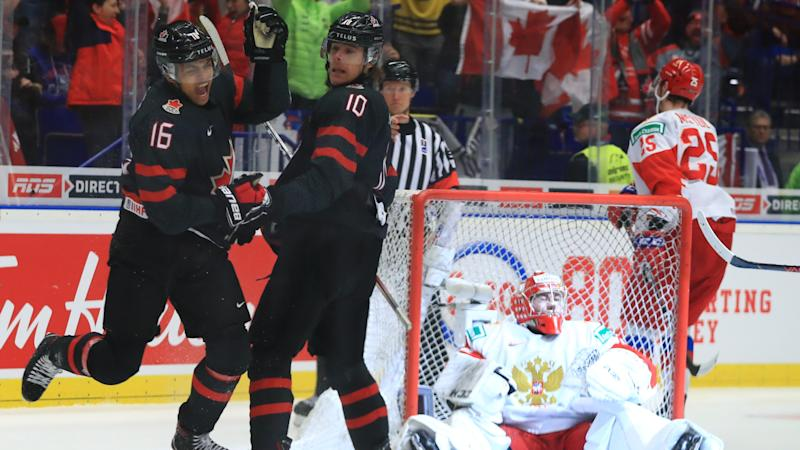Akil Thomas emerged as a national hero, scoring the winning goal for Canada during its comeback victory over Russia in the gold medal game at the 2020 World Juniors. (Peter Kovalev\TASS via Getty Images)
