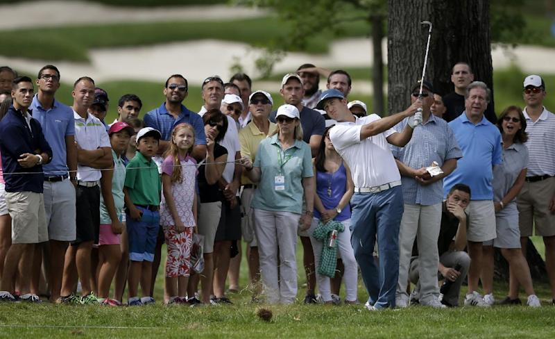 Kevin Chappell hits from the rough on the first hole during the third round of play at The Barclays golf tournament Saturday, Aug. 23, 2014, in Paramus, N.J. (AP Photo/Mel Evans)