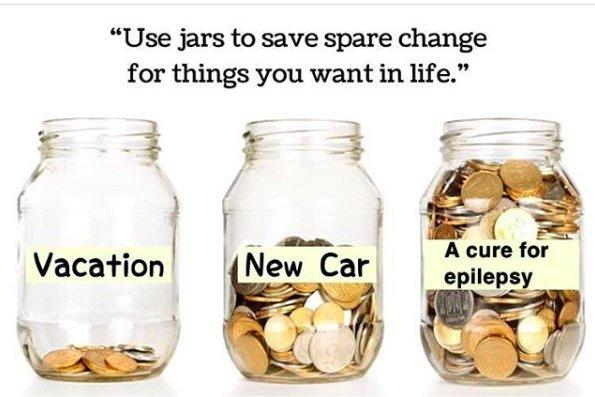 jars for spare change to save for things you want, vacation jar, new car jar and cure for epilepsy jar full of coins