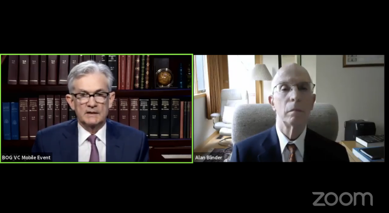 Federal Reserve Chairman Jerome Powell speaks with former Fed Vice Chairman Alan Blinder in a Zoom webinar on May 29, hosted by the Griswold Center for Economic Policy Studies at Princeton University.