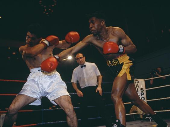 Pat Barrett (right) in action in 1993 (Getty Images)