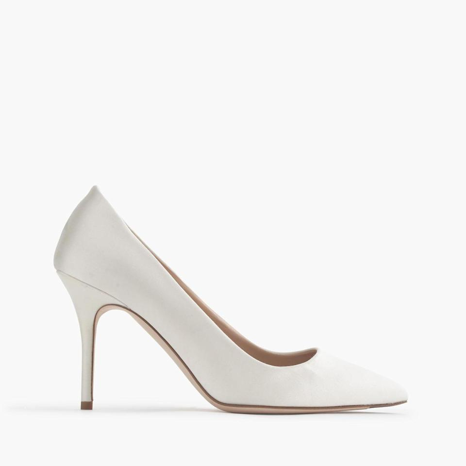 "<p>Elsie satin pumps, $255, <a href=""https://www.jcrew.com/womens_category/shoes/pumpsandheels/PRDOVR~C4102/C4102.jsp"" rel=""nofollow noopener"" target=""_blank"" data-ylk=""slk:Jcrew.com"" class=""link rapid-noclick-resp"">Jcrew.com</a></p>"