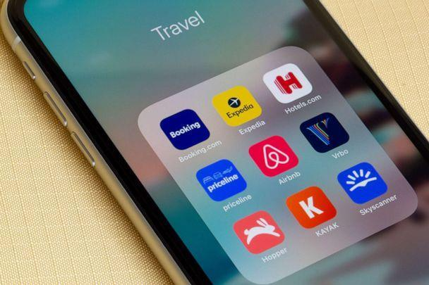 PHOTO: VRBO, Airbnb and other travel apps are seen on an iPhone screen on Feb 10, 2021 in Portland, Ore. (Tada Images/Shutterstock, FILE)