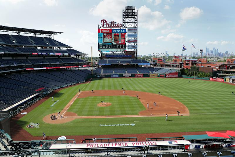 PHILADELPHIA, PA - JULY 25: A general view of the field during a game between the Miami Marlins and the Philadelphia Phillies at Citizens Bank Park on July 25, 2020 in Philadelphia, Pennsylvania. The 2020 season had been postponed since March due to the COVID-19 pandemic. (Photo by Hunter Martin/Getty Images)