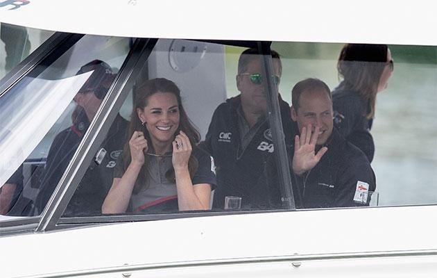 Kate and Will set sail on a high-speed catamaran. Photo: Getty Images