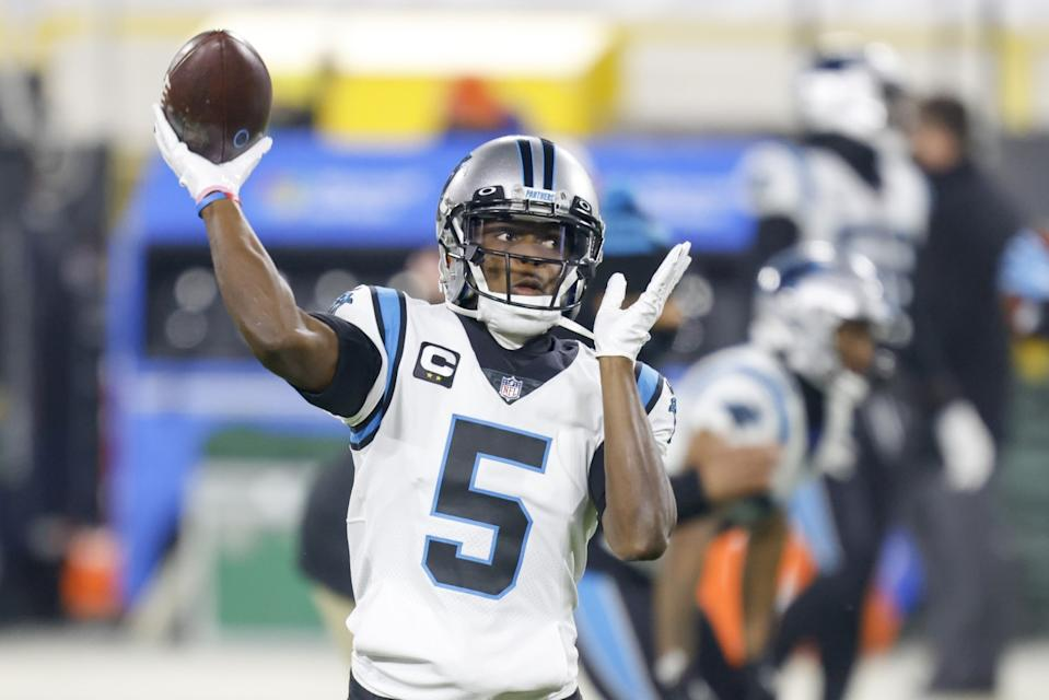 Carolina Panthers quarterback Teddy Bridgewater warms up before playing the Green Bay Packers on Dec. 19.