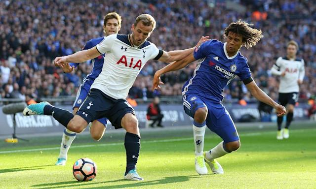 "<span class=""element-image__caption"">Harry Kane, who scored Tottenham's opening goal in their FA Cup semi-final defeat to Chelsea, insisted his team had learned from last season's title battle.</span> <span class=""element-image__credit"">Photograph: John Patrick Fletcher/Action Plus via Getty Images</span>"